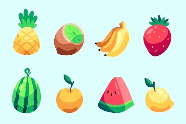 Conjunto de frutas deliciosas desenhadas à mão