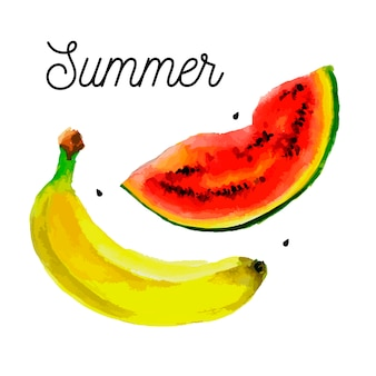 Conjunto de frutas - desenho de aquarela de bananas de melancia
