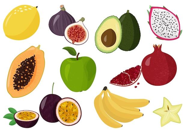 Conjunto de frutas doces