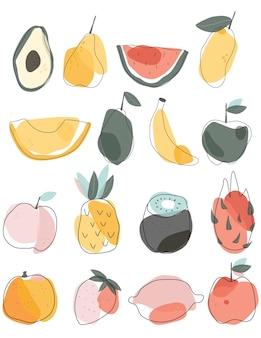 Conjunto de frutas doodle abstrato