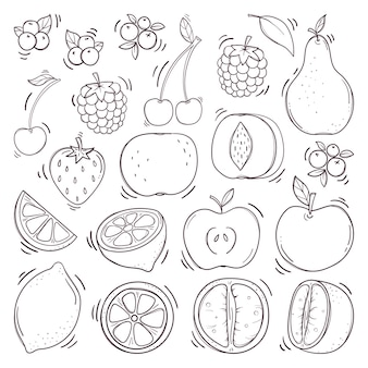Conjunto de frutas e bagas de mão desenhada. Vetor Premium