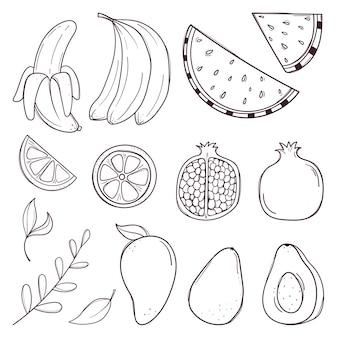 Conjunto de frutas e bagas de mão desenhada.