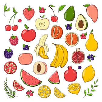 Conjunto de frutas e bagas desenhadas à mão
