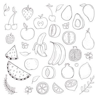 Conjunto de frutas e bagas em preto e branco desenhado à mão