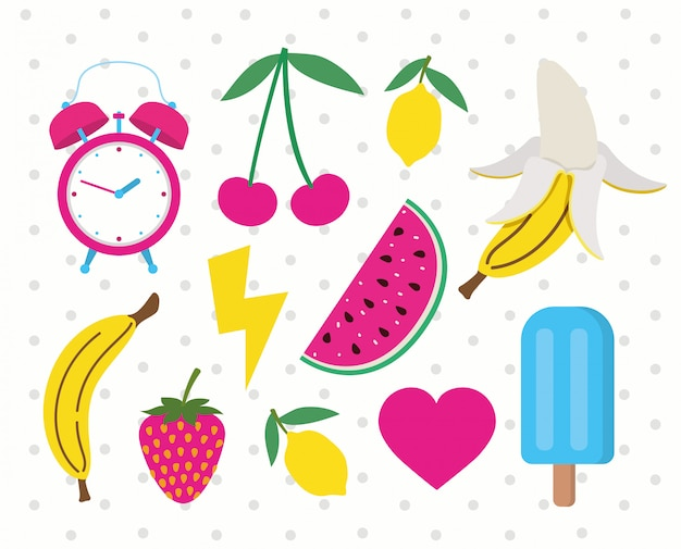 Conjunto de frutas e ícones no estilo pop art
