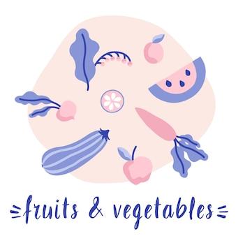 Conjunto de frutas e legumes. comida vegetariana e vegana. comida orgânica. ilustração do vetor de frutas e legumes orgânicas frescas.
