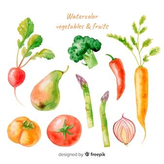 Conjunto de frutas e legumes em aquarela