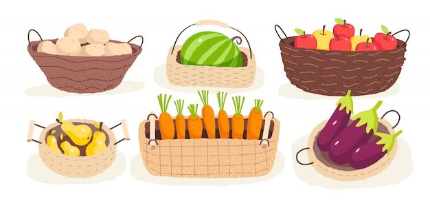 Conjunto de frutas e legumes frescos na cesta.