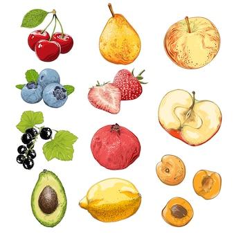 Conjunto de frutas e legumes na cor, isolado no branco.