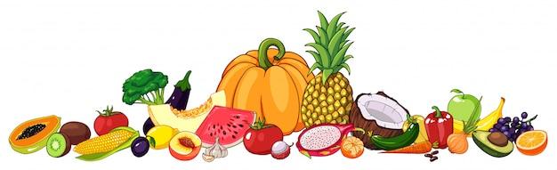 Conjunto de frutas e legumes