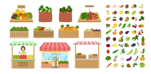 Conjunto de frutas e vegetais. alimentos em caixa de madeira. mercado com alimentos saudáveis. maçã e batata, rabanete e cenoura. ilustração em vetor plana isolada