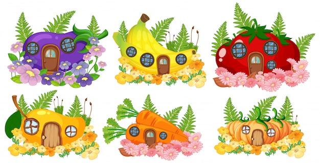 Conjunto de frutas e vegetais casa de fadas