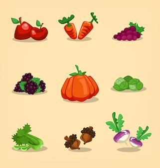Conjunto de frutas e vegetais de outono mão desenhada dos desenhos animados