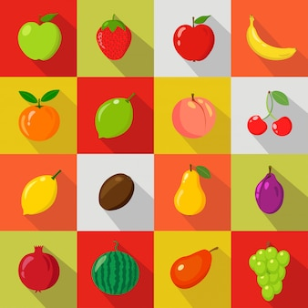 Conjunto de frutas em desenhos animados e estilo de plano de fundo colorido com sombra para seu projeto.