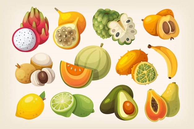 Conjunto de frutas exóticas.