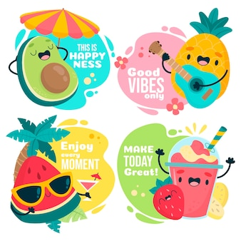 Conjunto de frutas fofas de verão com texto motivacional