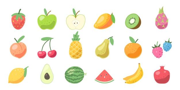 Conjunto de frutas fofas. vitaminas naturais, frutas tropicais orgânicas. ilustração vetorial
