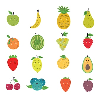 Conjunto de frutas fofas