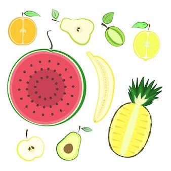 Conjunto de frutas frescas de corte colorido de verão