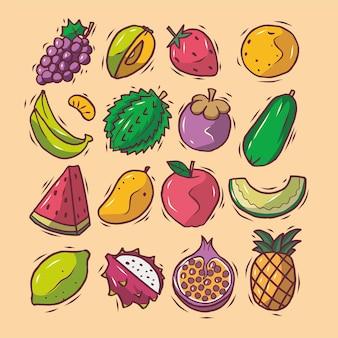 Conjunto de frutas frescas de doodle desenhado à mão