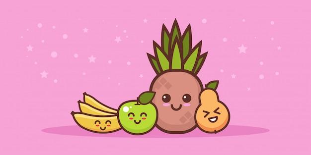 Conjunto de frutas frescas de maçã e banana de abacaxi bonito
