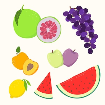Conjunto de frutas frescas desenhado à mão
