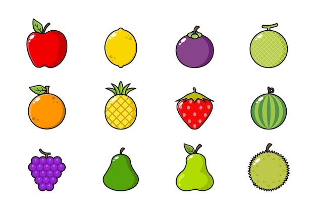 Conjunto de frutas frescas isoladas em branco
