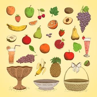 Conjunto de frutas frescas suculentas