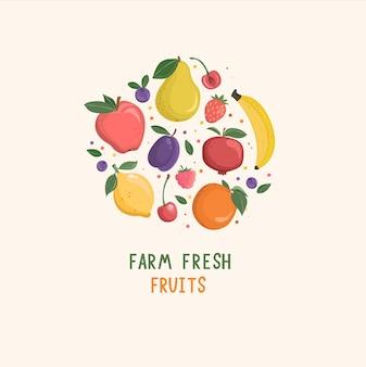 Conjunto de frutas isoladas desenhadas à mão e bagas com lugar para texto