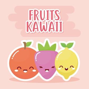 Conjunto de frutas kawaii com letras de frutas kawaii.