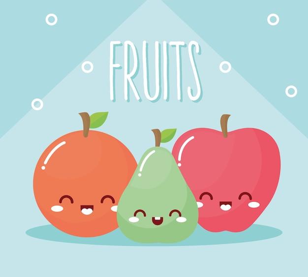 Conjunto de frutas kawaii com um sorriso no fundo azul.