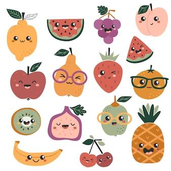 Conjunto de frutas kawaii fofas.