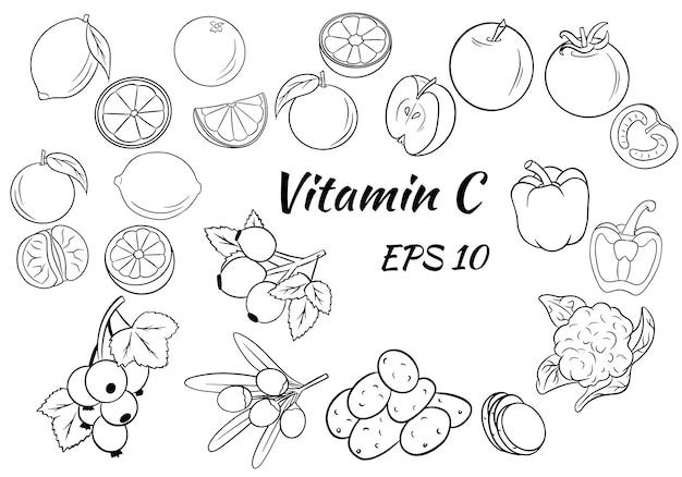 Conjunto de frutas, legumes e frutas.
