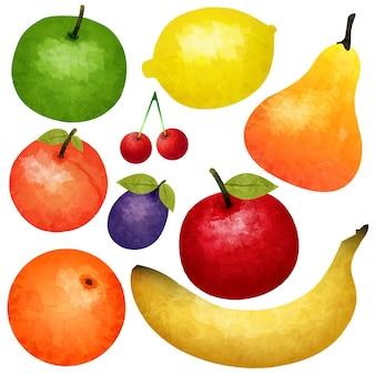 Conjunto de frutas maduras em aquarela
