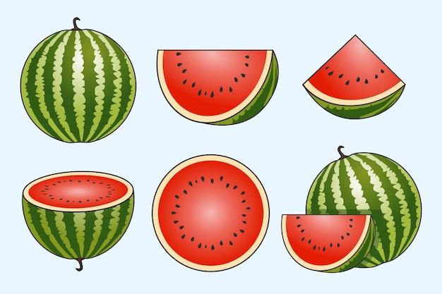 Conjunto de frutas melancia