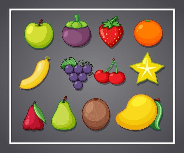 Conjunto de frutas no quadro