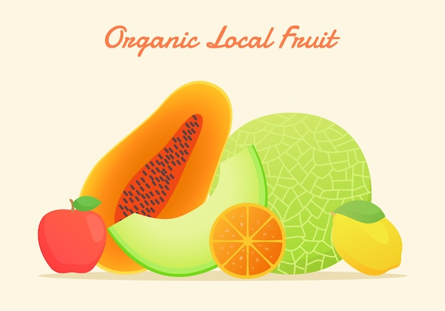 Conjunto de frutas orgânicas locais com estilo de cor lisa