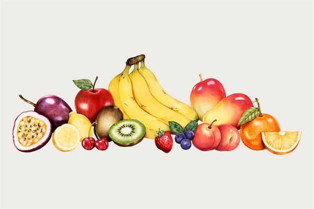 Conjunto de frutas orgânicas