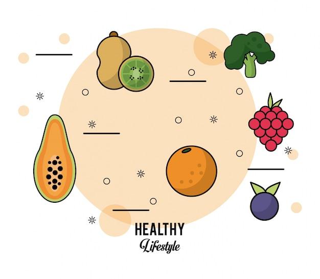 Conjunto de frutas papaia kiwi uvas laranja mirtilo e brócolis