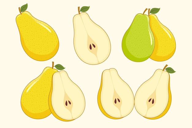 Conjunto de frutas pêra