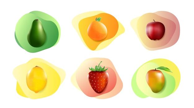 Conjunto de frutas realistas