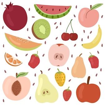 Conjunto de frutas romã