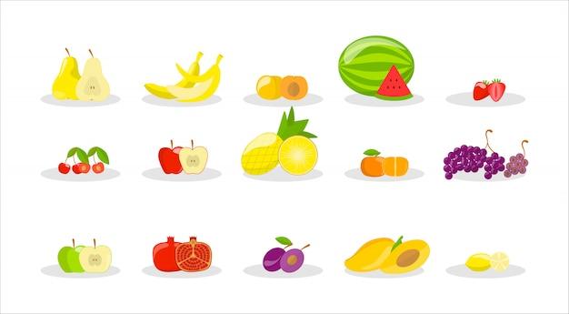 Conjunto de frutas saborosas. deliciosa maçã, banana e romã. comida saudável. ilustração