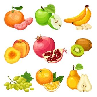 Conjunto de frutas saudáveis de desenho animado