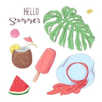 Conjunto de frutas tropicais e chapéu. vetorial, ilustração, mão, desenho