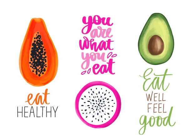 Conjunto de frutas tropicais e citações saudáveis. mamão, frutas de dragão, pitaya ou pitaiaiás e ilustrações de abacate.