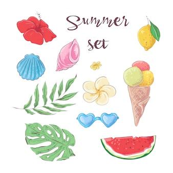 Conjunto de frutas tropicais. vetorial, ilustração, mão, desenho