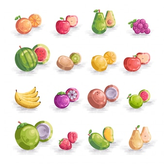 Conjunto de frutas vector icon ilustração coleção