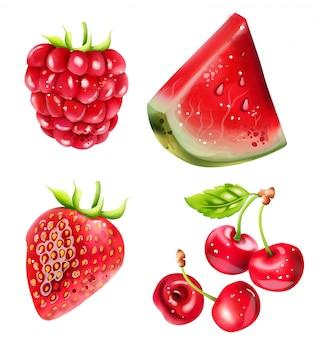 Conjunto de frutos de bagas de verão com melancia