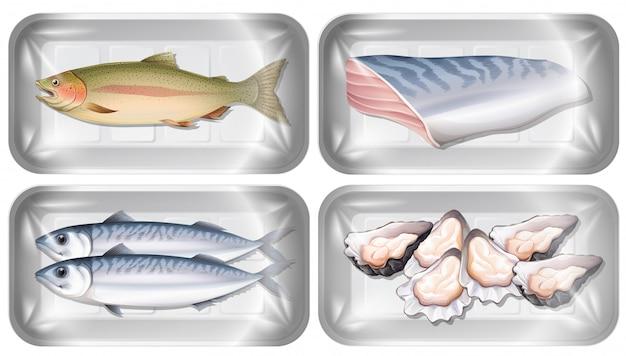 Conjunto de frutos do mar em embalagens